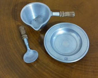Vintage Stede Pewter Set: Small Handled Bowl with Spout, Spoon, and Dish