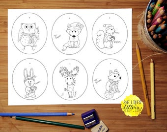 Animal Gift Tag Printable Children Adult Coloring Page Christmas Package Label Download Winter Creatures