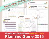 Planning Game 2018 - Mind Map Style Format Calendar: Year 2018, Year Tracking 2018,  12 Month, Monthly, Weekly, & Perpetual