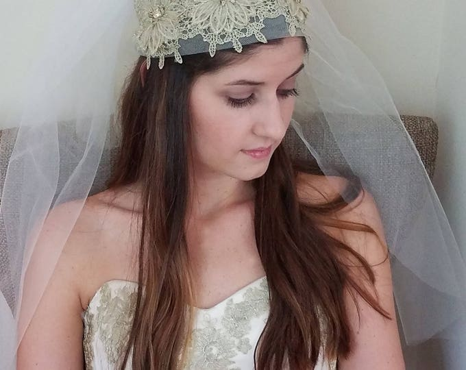 Featured listing image: Queen Victoria Gold Floral Lace Embroidered Bridal Headpiece