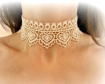 Hearts lace necklace, ivory lace choker, embroidered lace choker necklace, white lace necklace, bridal necklace, wedding jewelry