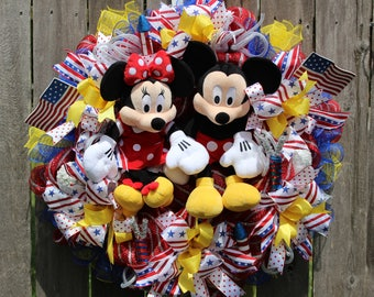 Patriotic Wreath, Summer Mesh Wreath, Mickey and Minnie Inspired Wreath