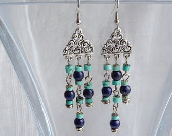 Lapis Lazuli and Turquoise Earrings with Silver Connector