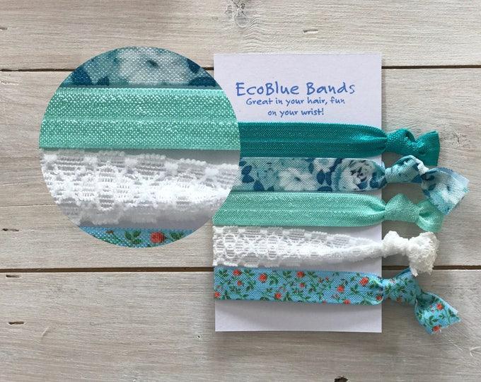 5 hair elastics, soft stretch hair ties, ponies, yoga hair ties, bracelets, ponytail holders - Green floral mix