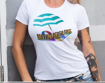 Resting Beach Face T-Shirt on Black or White Summer Beach Sea Ocean Surf Crew Neck Tank V-Neck Towel Umbrella Relax Funny Pun Gift