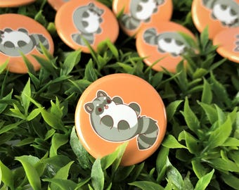 Kawaii Raccoon Pinback Button or Magnet - ( buttons pin pins cute flair )