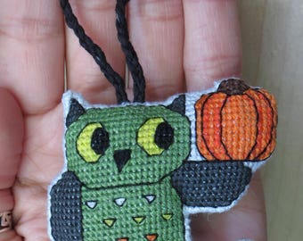 Halloween Whimsical Fantasy Owl Charm, with Broomstick Perch and Pumpkin