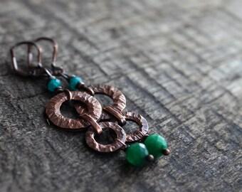 Long agate earrings copper Green stone Earrings Gift for woman   statement earrings casual jewelry Boho Gypsy earrings