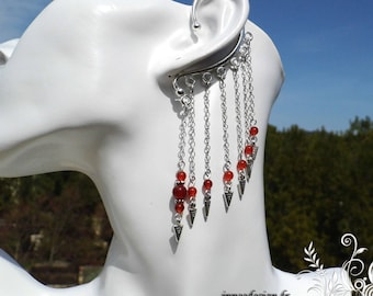 These cuff carnelian - spike triangle ear