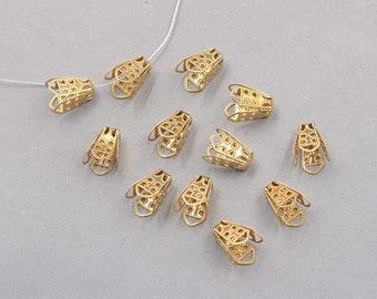 30Pcs, 15mm Raw Brass Hollow-craved Tassels Head End Charms ZR-7561