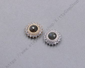23mm Faceted Labradorite Pendants With White Zircon And Electroplated Gold Edge Charms Wholesale Supplies YHA-347