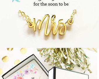 Bride Necklace Mrs Necklace Bride Wedding Gift for Bride Newlywed Gift Bridal Shower Gift for Bride Honeymoon Gift (EB3151MRS)