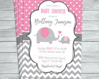 Pink & Grey Elephant Baby Shower Invite  - Digital file/Printable
