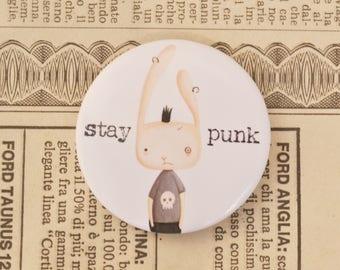 Illustrated Pin - school badge illustration, punk rabbit