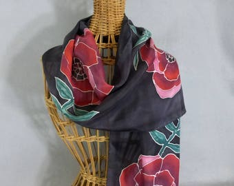 """Silk Scarf """"Red Poppy"""", Hand painted Silk Scarf, Red and Black Scarf"""