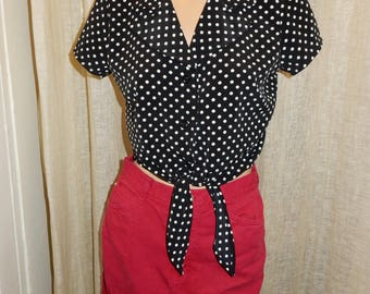 Polka Dot Tie Crop Top vintage 80's with 50's flair