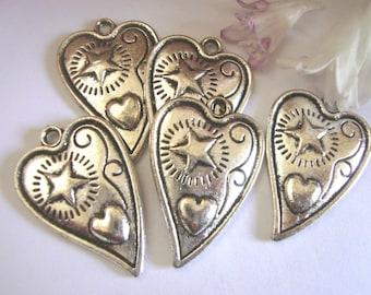 Whimsical Heart Charm/Pendants,5pcs