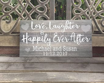 Happily Ever After, Wedding Canvas Sign, Rustic Wedding, Love Laughter, VALENTINES Day/Anniversary/Wedding Gift, 7 sizes, Personalized
