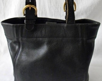 Vintage Black Leather Coach Buckle Bag
