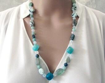 Handmade Blue Gemstone Necklace, Semi Precious Stones, Beaded  Boho Jewellery, Crystal Necklace, Moonstones, Beach Jewellery, Gift for Her