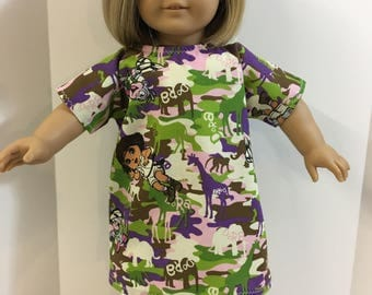 """DORA Doll Hospital Gown-Fits All Dolls, 18 inch Dolls, 15 inch Bitty Baby, """"DORA the EXPLORER"""" in the Jungle, Let's Pretend Doc McStuffins!"""