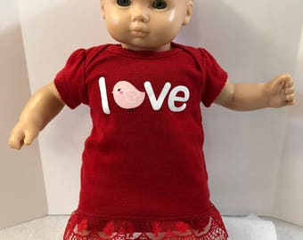 "15 inch Bitty Baby Clothes, Adorable Red SPARKLING ""LOVE"" Dress, 15 inch AG Doll Bitty Baby or Twin Doll, Pink Sparkling Baby Bird!"