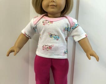 "18 inch Doll Clothes, Adorable ""MOMMY & BABY OWLS"" Top, Pink Pants, 2-Piece Outfit, 18 inch Ag Doll Clothes, American Doll Clothes"