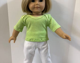 "18 inch Doll Clothes, Pretty ""GREEN/WHITE CHECKED"" Top, White Pants, 2-Piece Outfit, 18 inch Ag American Doll Clothes, Read to Play!"