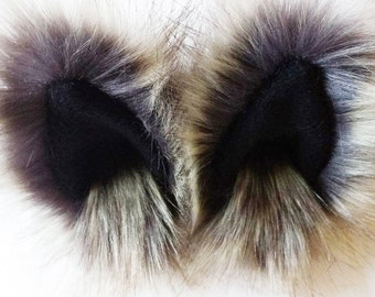 Brown tipped timber wolf animal ear hair clips with black fleece clip on cat ears, wolf cat ear hair clips