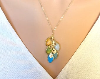 Personalized Mothers Necklace, Gift for mom, Family Tree Necklace, 14K gold fill Grandma Necklace, Initial Stamped Jewelry, Initial leaf