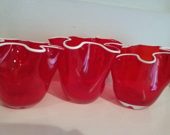 Red Glass Scalloped Vases set of 3