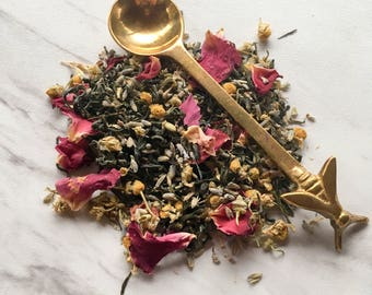 Organic Serenity Tea. Loose Leaf Tea Blend. Calming Tea Blend. Vegan Friendly Tea. Organic Tea Blend. Dried Herbal. Green Tea