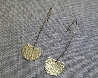Hammered Brass Semi-Circle Earrings / Dangle Earrings / Tribal Earrings / Boho Chic / Minimalist / Geometric - EHS01
