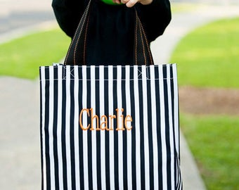 Halloween Tote, Black & White Stripe Candy Bag, Embroidered Halloween Bucket, Trick or Treat Bag, Halloween