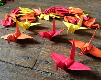 THANKSGIVING HOLIDAY SPECIAL 9cm X 100 Origami Birds Orange, Yellow, Red Folded Paper Birds Origami Paper Cranes Paper holiday Decorations