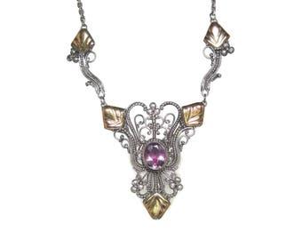 Vintage Amethyst Filigree Necklace 10K 18.25 Inches