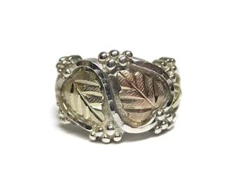 Wide Vintage Black Hills Gold Leaf Ring Size 7