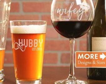 Beer And Wine Glasses, Wedding Glasses, His Hers Pint Glass, Monogrammed Beer And Wine Glasses, Engagement Gift, Glasses Set, Custom Glasses