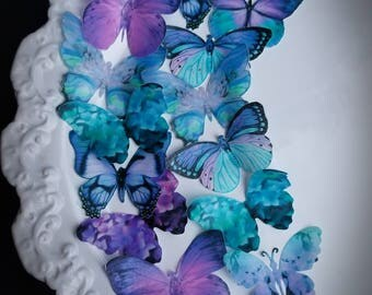 16 Ultra Violet & Teal Edible Butterflies Wedding Cake Toppers