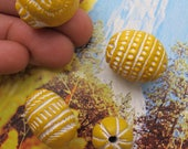 Big Clay Beads Sunny Yellow Ceramic Beads Ethnic Boho Carved Beads White Etched Guru Bead Pendants Exotic Unique Colorful Tribal Beads