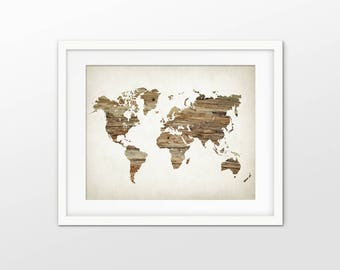 World Map Art Print - World Faux Wood Decor - World Continents - Wood Map Wall Art - World Map Design - Single Print #2423 INSTANT DOWNLOAD