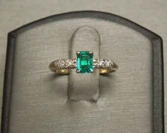 Vintage Estate C1950 14K Gold 0.64TCW Emerald cut Natural Fine Intense Green Emerald Solitaire & Diamond Engagement Ring Sz 6.25