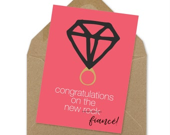 congrats on the new rock engagement card | A6