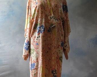 1920s pastel silk kimono, wrap, robe, dressing robe, coat, boudoir, photo prop, costume,