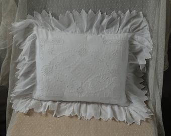 Edwardian boudoir pillow, white lace cushion,