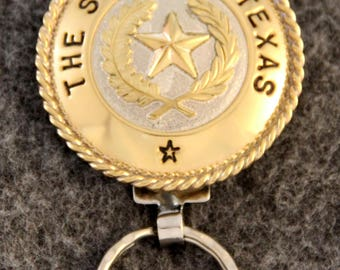 IN STOCK - Unless personalized - Texas State Seal Key Chain -  Brass Bezel - Brass Roping - Keychain for Him or Keychain for Her!