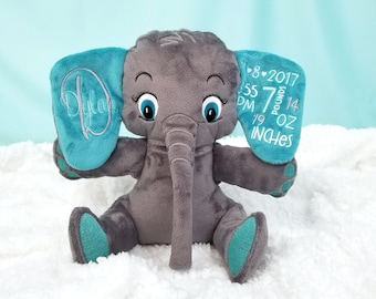 Birth Announcement Stuffed Animals, Birth Stats Elephant Stuffed Animal, Custom Colors, Birth Stat Plush, Elephant Nursery Decor, Baby Gift
