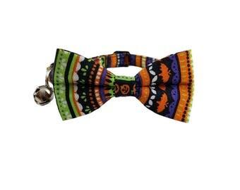 Halloween Stripes-  Breakaway Cat Collar or Kitten Breakaway Safety Collar- Bow Tie Cat Collar- Removable Bowtie