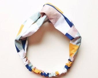 Phyllis Fabric Headband - Turban headband - Color Block print - Boho headband - Geometric print - Tan headband - Adult headband