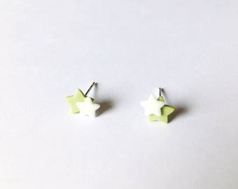 Two Little Stars Earrings - Ceramic earrings - Post earrings - Stud earrings - Light green earrings - Star earrings - Clay earrings